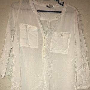 LUCKY BRAND Sheer White Shirt